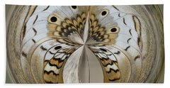 White Peacock Butterfly Orb Beach Towel