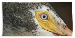 Beach Towel featuring the photograph White Pelican Eye by Terri Mills