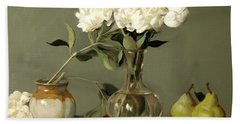 White Peonies In Decanter With Pears And Handmade Pottery Beach Towel