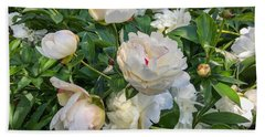 White Peonies In North Carolina Beach Towel