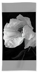 White Peony After The Rain In Black And White Beach Sheet by Gill Billington