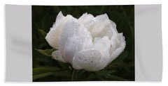 White Peony Covered In Raindrops Beach Sheet by Gill Billington