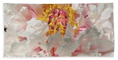 Beach Towel featuring the photograph White Peony by Sandy Keeton