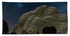 White Pocket Night Sky Beach Towel by Anne Rodkin