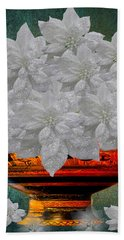 White Poinsettias In A Bowl Beach Towel by Saundra Myles