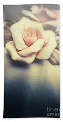 White Porcelain Rose Beach Towel