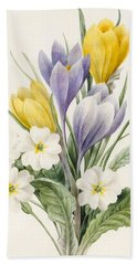 White Primroses And Early Hybrid Crocuses Beach Towel