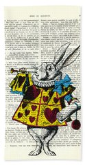 White Rabbit Blows His Trumpet Three Times Alice In Wondreland Beach Towel