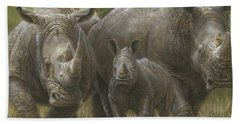 White Rhino Family - The Face That Only A Mother Could Love Beach Sheet