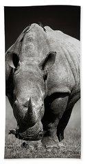 White Rhinoceros  In Due-tone Beach Towel