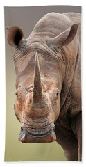 White Rhinoceros Portrait Beach Towel