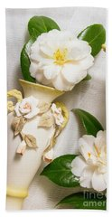 White Rhododendron Funeral Flowers Beach Towel