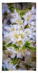 White Rhododendron Beach Towel