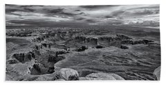 Beach Towel featuring the photograph White Rim Overlook Monochrome by Alan Vance Ley