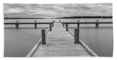 White Rock Lake Pier Black And White Beach Towel