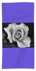 White Rose Against Black Beach Towel