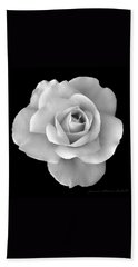 White Rose Flower In Black And White Beach Towel