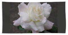 White Rose In Rain - 3 Beach Towel