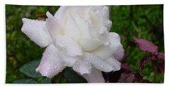 White Rose In Rain Beach Towel