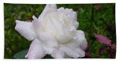 White Rose In Rain Beach Sheet
