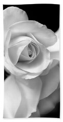 White Rose Petals Black And White Beach Towel