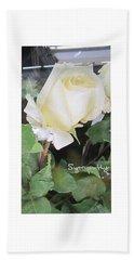 White Rose - Sympathy Card Beach Towel