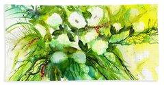 White Roses And Delphinium Beach Towel