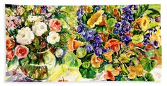 White Roses Blue Delphininums Beach Sheet