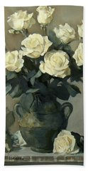 White Roses In A Rustic Green Pottery Vase On A Cupboard Shelf Beach Sheet