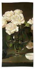White Roses In Brandy Snifter With White Bowl And A Pitcher Beach Sheet