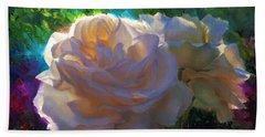 White Roses In The Garden - Backlit Flowers - Summer Rose Beach Towel