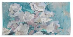 White Roses Palette Knife Acrylic Painting Beach Towel by Chris Hobel