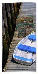 White Rowboat Beach Towel by Diane Diederich
