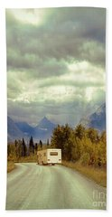 White Rv In Montana Beach Towel by Jill Battaglia