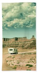 White Rv In Utah Beach Towel by Jill Battaglia