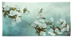 Beach Sheet featuring the mixed media White Sakura Blossoms by Shanina Conway
