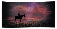 White Sands Horse And Rider #4c Beach Towel