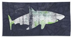 White Shark- Art By Linda Woods Beach Towel