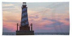 White Shoal Lighthouse At Sunset Beach Sheet