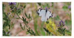 White-skipper On Lupine Beach Towel