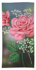White Small Flowers And Roses Beach Towel