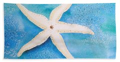 Beach Sheet featuring the painting White Starfish by Patricia Piffath