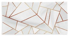 White Stone And Copper Lines Beach Towel