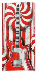 White Stripes Guitar Beach Towel