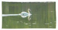 White Swan Silhouette Beach Towel