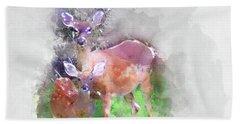 White Tail Deer In Watercolor Beach Sheet