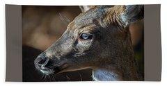 White Tailed Deer Facial Profile Closeup Portrait Beach Sheet