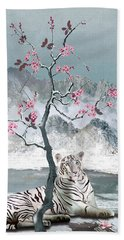 White Tiger And Plum Tree Beach Sheet