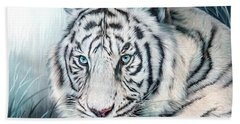 Beach Towel featuring the mixed media White Tiger - Spirit Of Sensuality by Carol Cavalaris