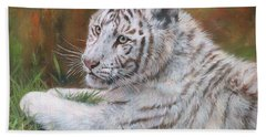 Beach Sheet featuring the painting White Tiger Cub 2 by David Stribbling